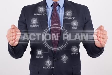Acción interfaz de pantalla táctil del Plan