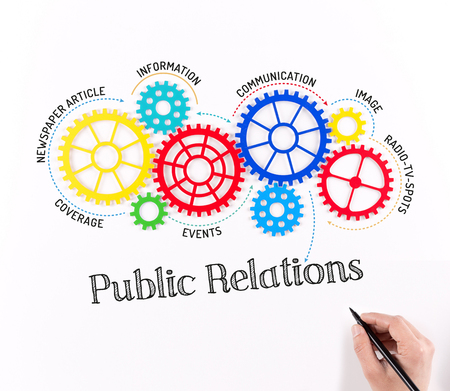 Business-Getriebe und Public Relations-Mechanismus Standard-Bild