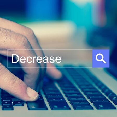 decrease: SEARCH WEBSITE INTERNET SEARCHING Decrease CONCEPT Stock Photo