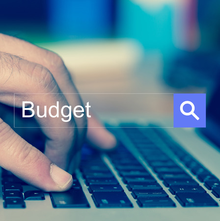 deficit target: SEARCH WEBSITE INTERNET SEARCHING Budget CONCEPT Stock Photo