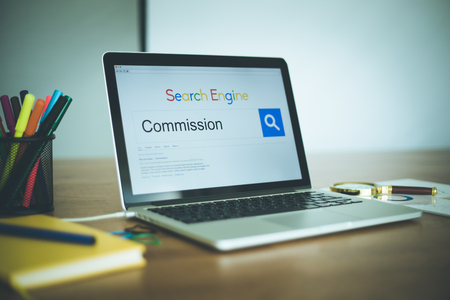 commission: SEARCHING COMMISSION WORD ON INTERNET Stock Photo