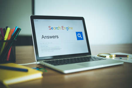 warranty questions: ANSWERS SEARCHING WEB SEARCH ENGINE INTERNET COMMUNICATION CONCEPT Stock Photo