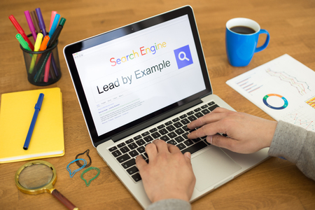 example: Searching LEAD BY EXAMPLE on Internet Search Engine Browser Concept