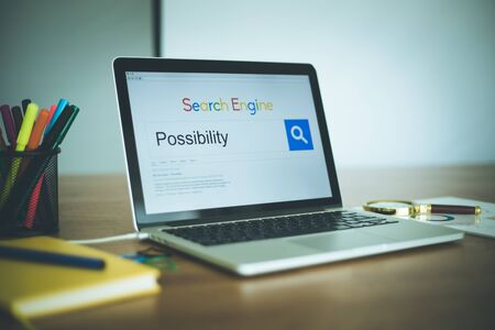 possibility: Search Engine Concept: Searching POSSIBILITY on Internet