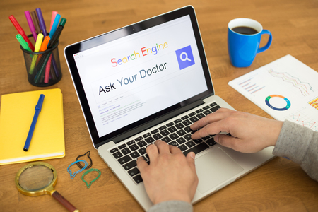 health answers: Searching ASK YOUR DOCTOR on Internet Search Engine Browser Concept