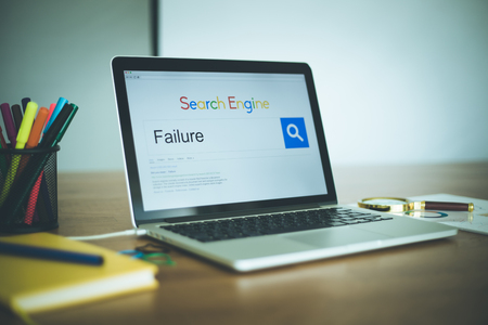 failed strategy: SEARCHING FAILURE WORD ON SEARCH ENGINE Stock Photo
