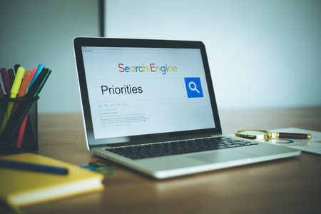 priorities: Search Engine Concept: Searching PRIORITIES on Internet Stock Photo