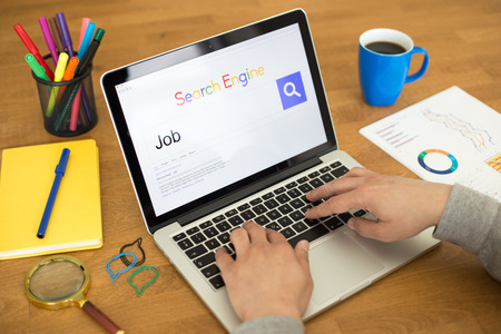 job engine: Searching JOB on Internet Search Engine Browser Concept Stock Photo