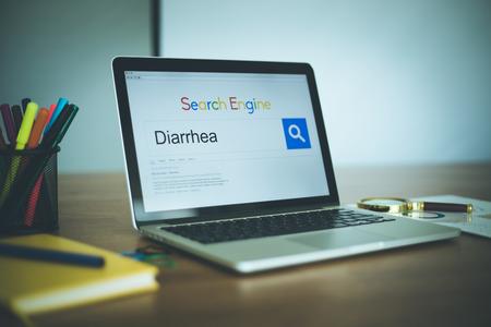 diarrea: Concepto motor de búsqueda: la búsqueda en Internet DIARREA Foto de archivo