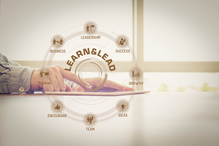 keywords: LEARN&LEAD chart with keywords and icons on screen Stock Photo