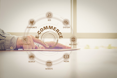 keywords: E-COMMERCE chart with keywords and icons on screen