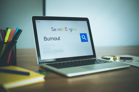 burnout: Search Engine Concept: Searching BURNOUT on Internet Stock Photo