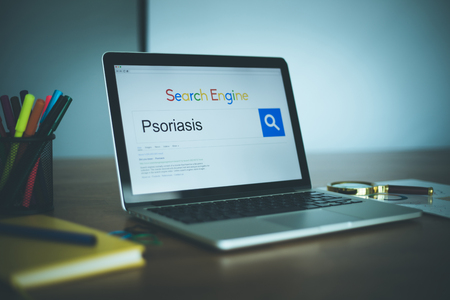 psoriasis: Search Engine Concept: Searching PSORIASIS on Internet