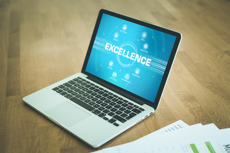 keywords: EXCELLENCE chart with keywords and icons on screen