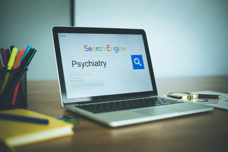 psychiatry: Search Engine Concept: Searching PSYCHIATRY on Internet Stock Photo