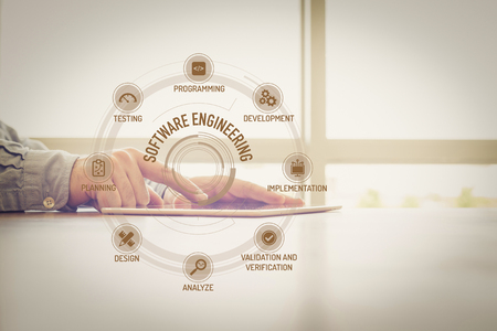 keywords: SOFTWARE ENGINEERING chart with keywords and icons on screen Stock Photo