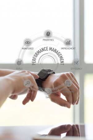 intervenes: Futuristic Technology Concept: PERFORMANCE MANAGEMENT chart with icons and keywords Stock Photo