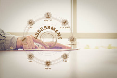 assessment system: ASSESSMENT chart with keywords and icons on screen