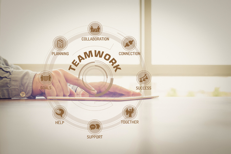 keywords: TEAMWORK chart with keywords and icons on screen