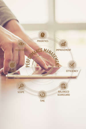 Futuristic Technology Concept: PERFORMANCE MANAGEMENT chart with icons and keywords Stock Photo