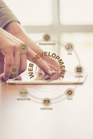 xhtml: Futuristic Technology Concept: WEB DEVELOPMENT chart with icons and keywords Stock Photo