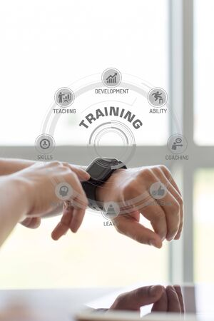 executive courses: Futuristic Technology Concept: TRAINING chart with icons and keywords