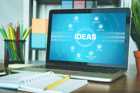 keywords: IDEAS chart with keywords and icons on screen Stock Photo