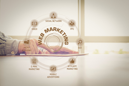 keywords: WEB MARKETING chart with keywords and icons on screen