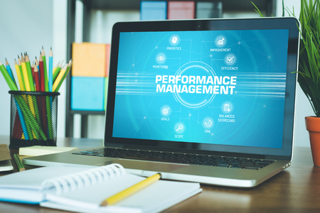 summarized: PERFORMANCE MANAGEMENT chart with keywords and icons on screen