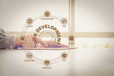 webhosting: WEB DEVELOPMENT chart with keywords and icons on screen