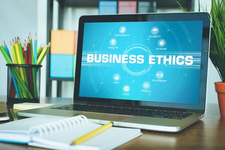 keywords: BUSINESS ETHICS chart with keywords and icons on screen Stock Photo
