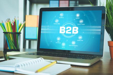 b2b: B2B diagrama con palabras clave y los iconos que aparecen en pantalla