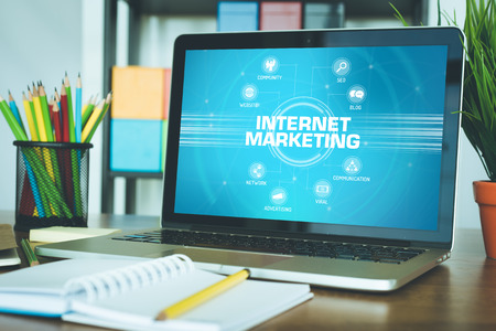 keywords: INTERNET MARKETING chart with keywords and icons on screen