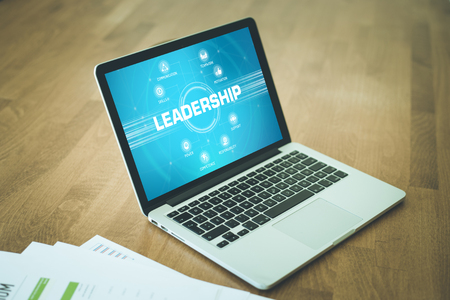 keywords: LEADERSHIP chart with keywords and icons on screen