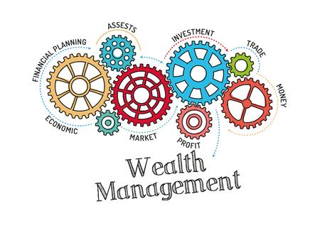 Mecanismo de engranajes y Wealth Management Ilustración de vector