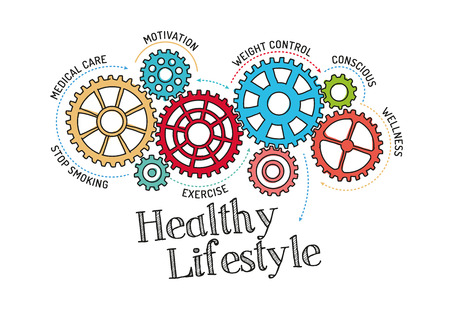reducing: Gears and Healthy Lifestyle Mechanism Illustration