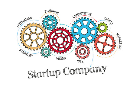 undertake: Gears and Startup Company Mechanism Illustration