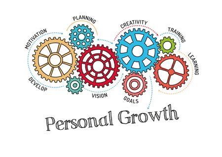 crecimiento personal: Mecanismo de engranajes y Crecimiento Personal Vectores