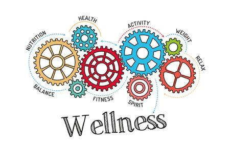 body massage: Gears and Wellness Mechanism Illustration