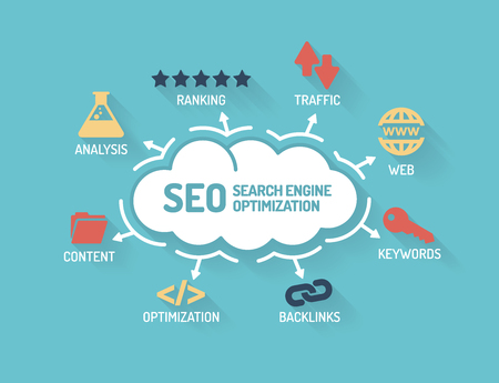 SEO Search Engine Optimization - Chart with keywords and icons - Flat Design