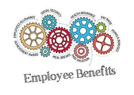 Gears und Employee Benefits Mechanism Vektorgrafik