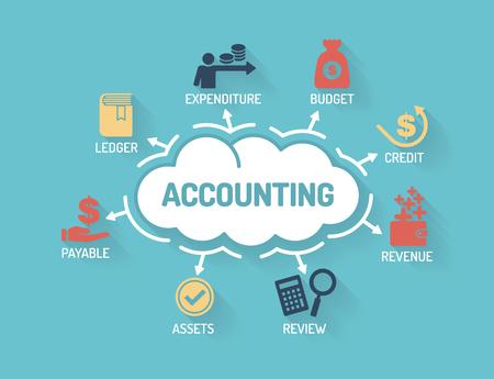 Accounting - Grafiek met zoekwoorden en iconen - Flat Design Vector Illustratie