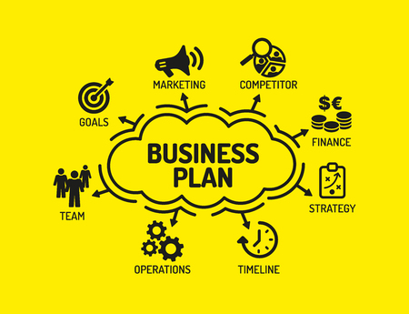 keywords background: Business Plan. Chart with keywords and icons on yellow background