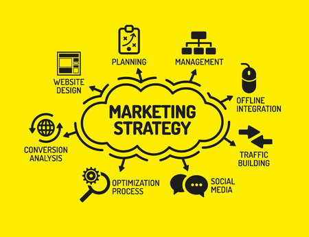 keywords background: Marketing Strategy. Chart with keywords and icons on yellow background Illustration