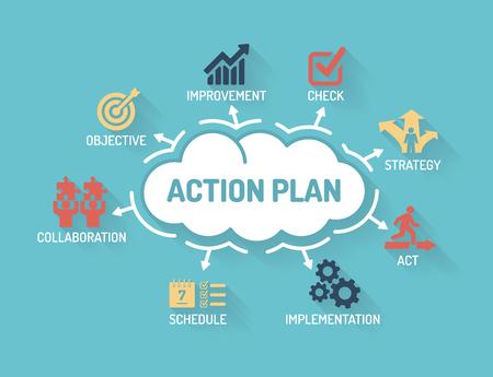 plan de accion: Plan de acción - Tabla de palabras clave e iconos - Diseño plana Vectores