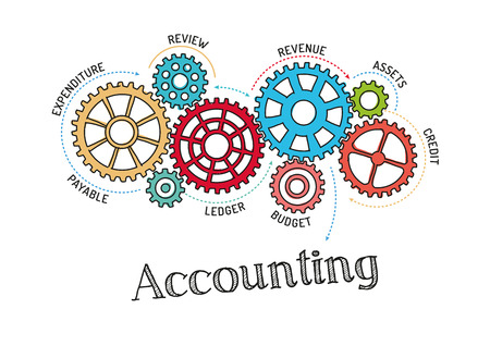 Gears and Accounting Mechanism Vector Illustration