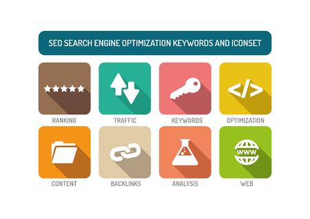 SEO Search Engine Optimization Flat Icon Set Illustration