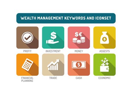 wealth management: Wealth Management Flat Icon Set