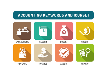 financial advisors: Accounting Flat Icon Set
