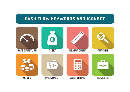 Cash Flow Flat Icon Set